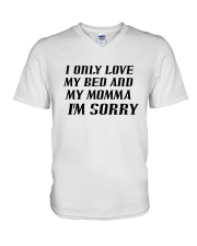 Only Love My Bed and My Momma V-Neck T-Shirt thumbnail