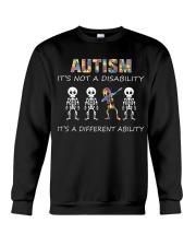 Autism Its NOT A DISABILITY Dabbing Skeleton Crewneck Sweatshirt thumbnail