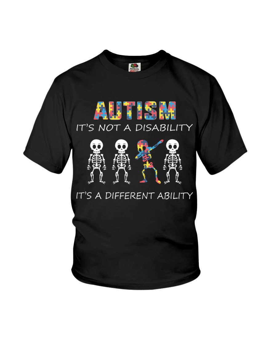 Autism Its NOT A DISABILITY Dabbing Skeleton Youth T-Shirt