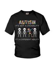 Autism Its NOT A DISABILITY Dabbing Skeleton Youth T-Shirt front