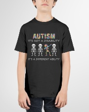 Autism Its NOT A DISABILITY Dabbing Skeleton Youth T-Shirt garment-youth-tshirt-front-01