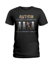 Autism Its NOT A DISABILITY Dabbing Skeleton Ladies T-Shirt thumbnail