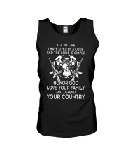 ALL MY LIFE HAVE LIVED BY A CODE Unisex Tank thumbnail