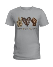 Peace - Love - Justice Ladies T-Shirt thumbnail