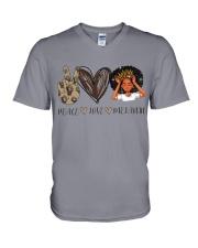 Peace - Love - Melanin V-Neck T-Shirt thumbnail