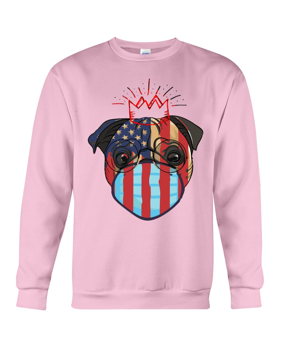 usa flag pug lover design Crewneck Sweatshirt