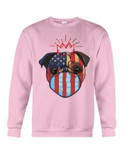 usa flag pug lover design Crewneck Sweatshirt front