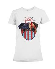 usa flag pug lover design Premium Fit Ladies Tee thumbnail