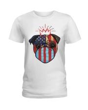 usa flag pug lover design Ladies T-Shirt thumbnail