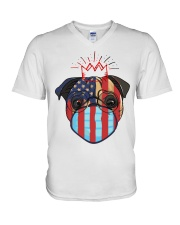 usa flag pug lover design V-Neck T-Shirt thumbnail