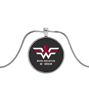 BRAIN ANEURYSM WARRIOR Metallic Circle Necklace thumbnail