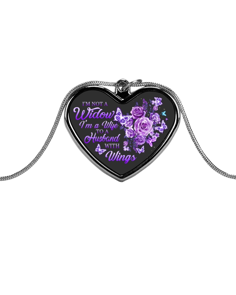I'm Not A Widow I'm Wife To A Husband With Wings Metallic Heart Necklace