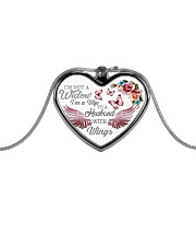I'm Not A Widow I'm Wife To A Husband With Wings Metallic Heart Necklace thumbnail