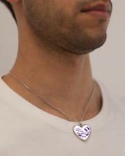 I'm Not A Widow I'm Wife To A Husband With Wings Metallic Heart Necklace aos-necklace-heart-metallic-lifestyle-2