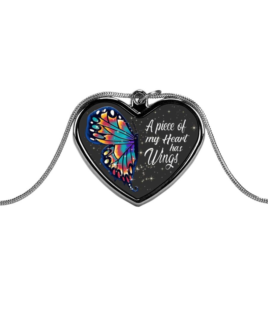 Butterfly Metallic Heart Necklace