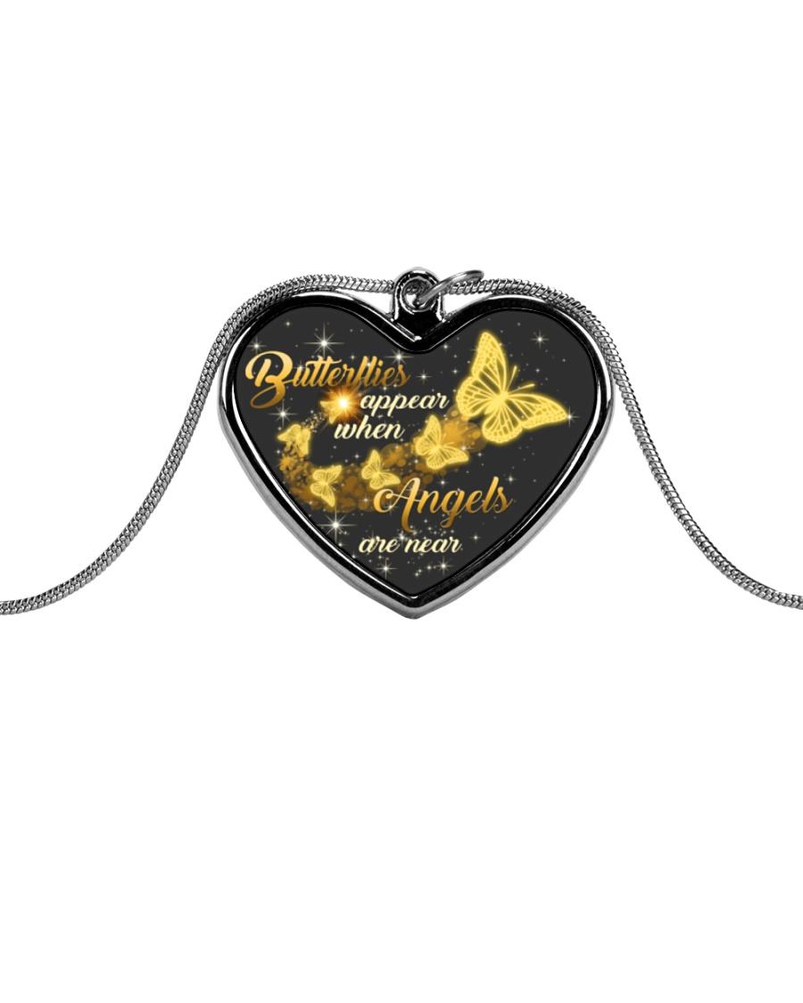 Butterflies Appear When Angels Are Near Metallic Heart Necklace