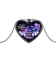 I'm Not A Widow I'm Wife To A Husband With Wings Metallic Heart Necklace front