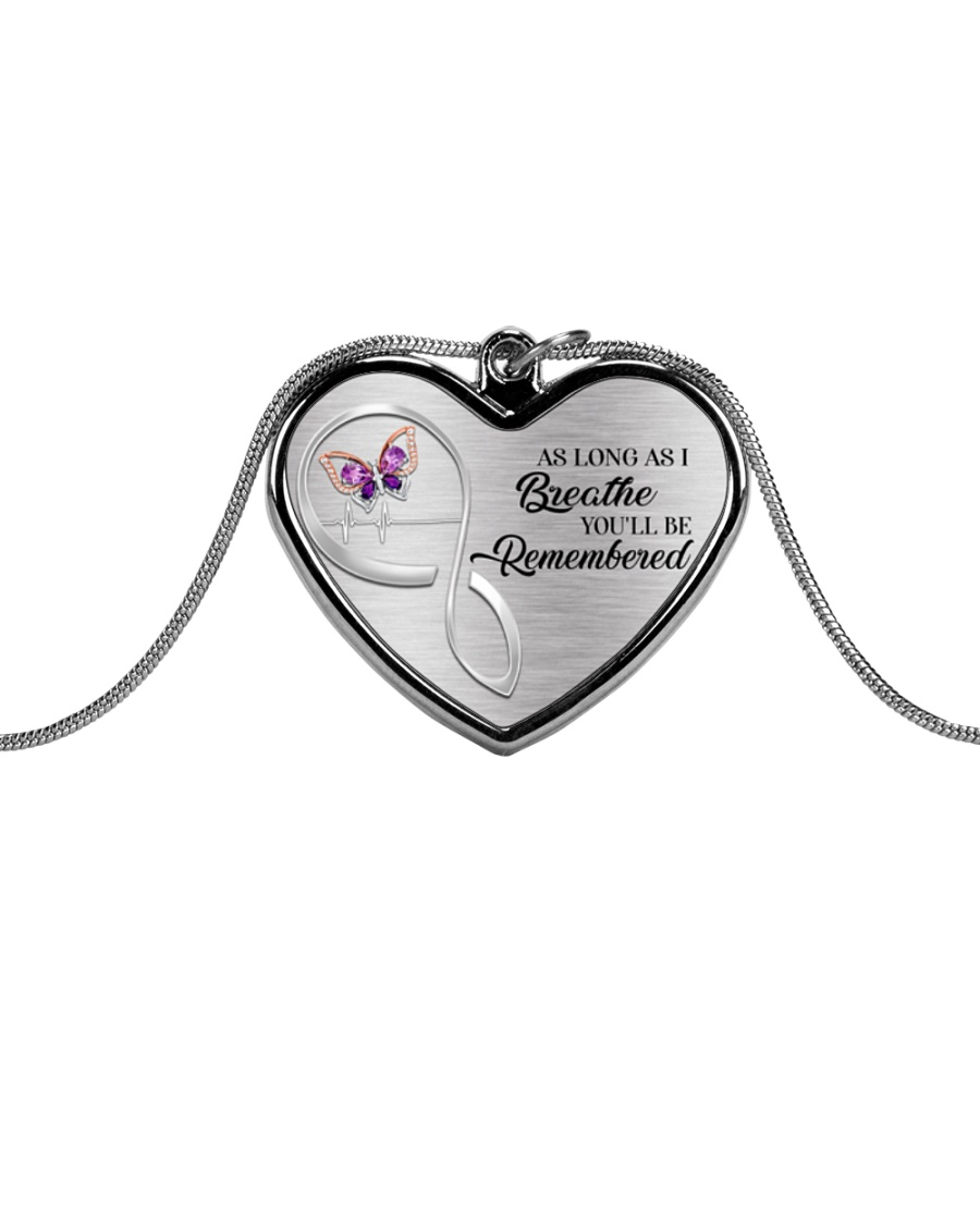 As Long As I Breathe You'll Remembered Metallic Heart Necklace