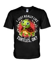 I LIKE TURTLES V-Neck T-Shirt thumbnail