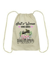 WOMAN WHO LOVES PIANO Drawstring Bag thumbnail