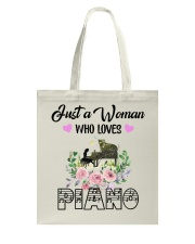 WOMAN WHO LOVES PIANO Tote Bag thumbnail