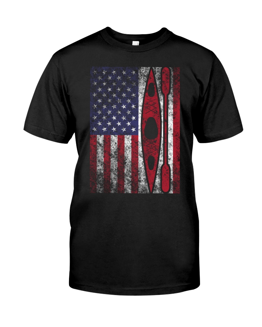 Kayak American Flag  Classic T-Shirt