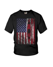 Kayak American Flag  Youth T-Shirt thumbnail