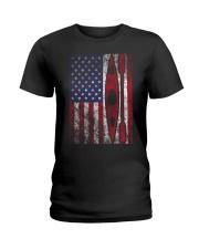Kayak American Flag  Ladies T-Shirt thumbnail