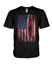 Kayak American Flag  V-Neck T-Shirt thumbnail