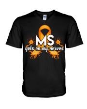 MS Gets on my nerves V-Neck T-Shirt thumbnail
