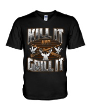 Hunting -Grill it V-Neck T-Shirt thumbnail