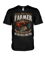 Never Mess With A Farmer V-Neck T-Shirt front
