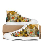 Shoes for Women Love Quilting Sewing Brown Women's High Top White Shoes inside-left-outside-left