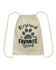 RESCUED IS MY FAVORITE BREED Drawstring Bag thumbnail