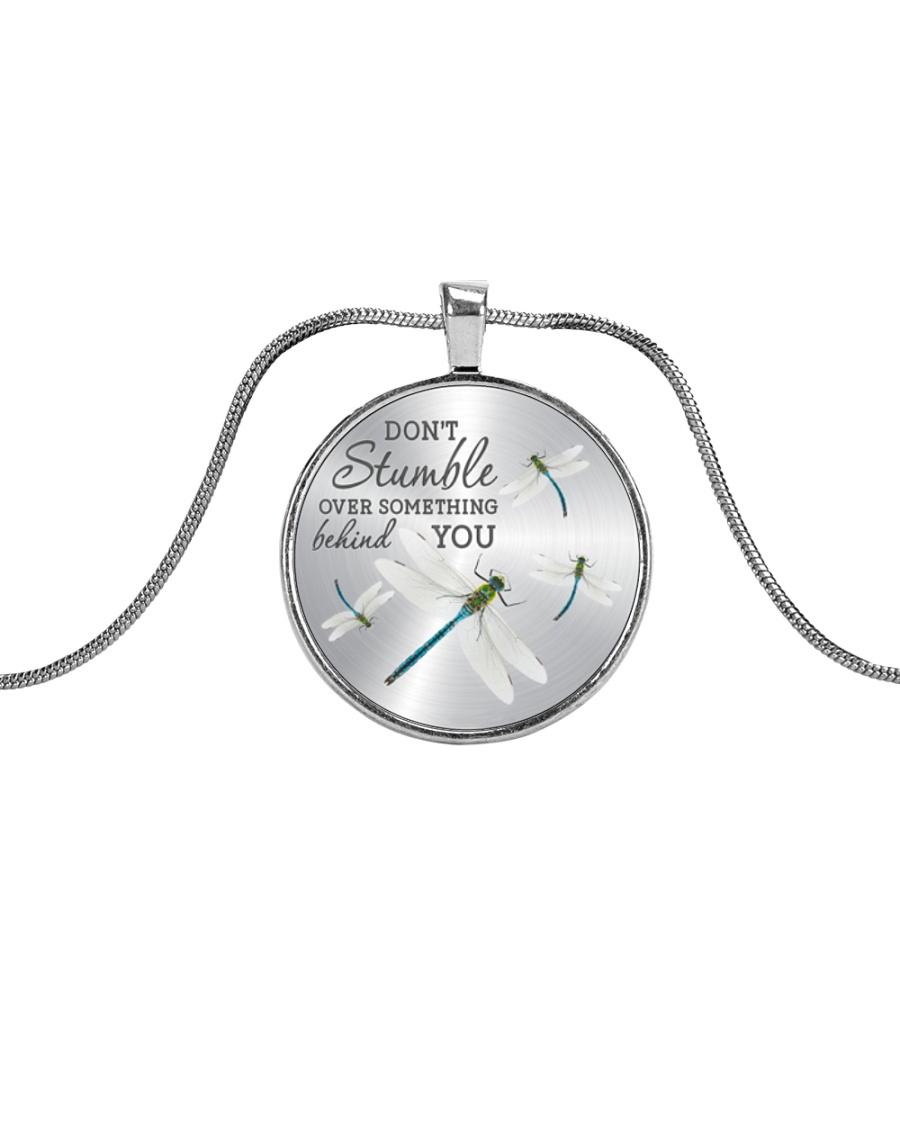 Over Something Behind You Metallic Circle Necklace