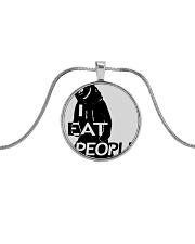 I Eat People Metallic Circle Necklace thumbnail