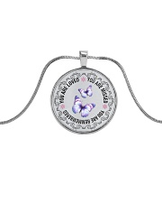 You Are Loved Metallic Circle Necklace front