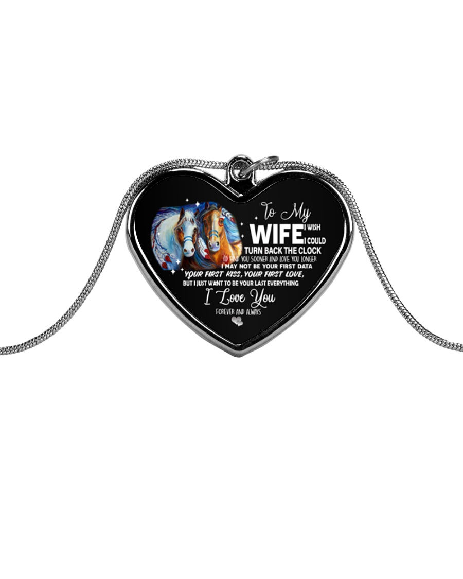 To My Wife Metallic Heart Necklace