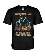 Sloth Hiking Team V-Neck T-Shirt thumbnail