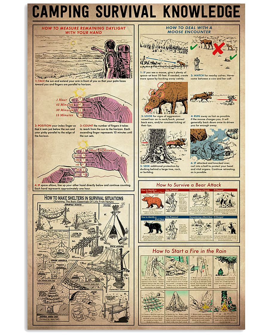 Camping Survival Knowledge 11x17 Poster