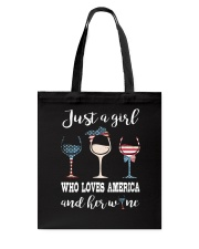 Just A Girl Love Wine Tote Bag thumbnail