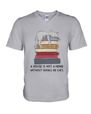Books And Cats V-Neck T-Shirt thumbnail