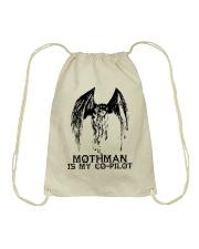 Moth Man Is My Co Pilot Drawstring Bag thumbnail