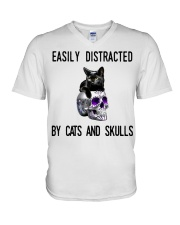 Cats And Skulls V-Neck T-Shirt thumbnail