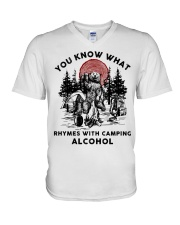 Rhymes With Camping Alcohol V-Neck T-Shirt thumbnail