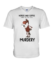Horses And Coffee V-Neck T-Shirt thumbnail