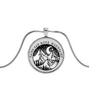 Faith Can Move Mountains Metallic Circle Necklace thumbnail