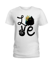 Cat Love Flowers Ladies T-Shirt thumbnail