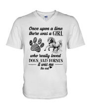 Dogs And Horses V-Neck T-Shirt tile
