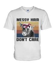 Messy Hair Don't Care V-Neck T-Shirt thumbnail